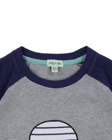 Lilly + Sid Boys Raglan Long Sleeve Tee with Stripe Skull Applique at The Groovy Gator