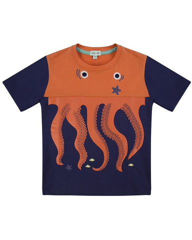 Lilly + Sid Boys Cut-N-Sew Octopus Applique Tee at The Groovy Gator