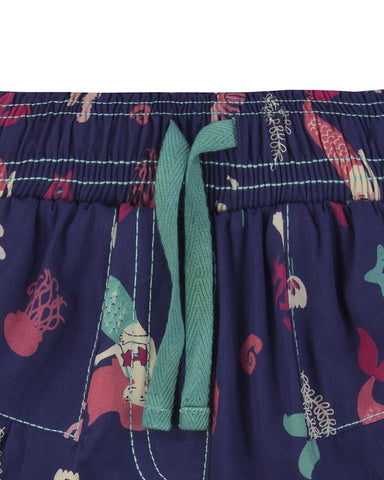 Lilly + Sid Girls Woven Shorts in Mermaid Print at The Groovy Gator