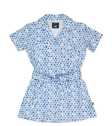 Toobydoo Zoey Girls Shirt Dress in Blue Dot at The Groovy Gator