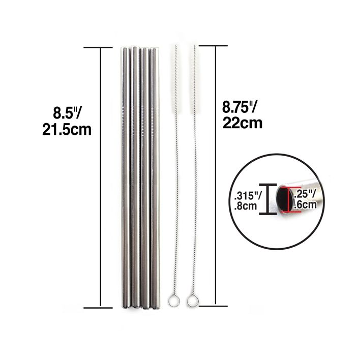 "Norpro - Stainless Steel 8.5"" Straight Reusable Straws with Cleaning Brushes"