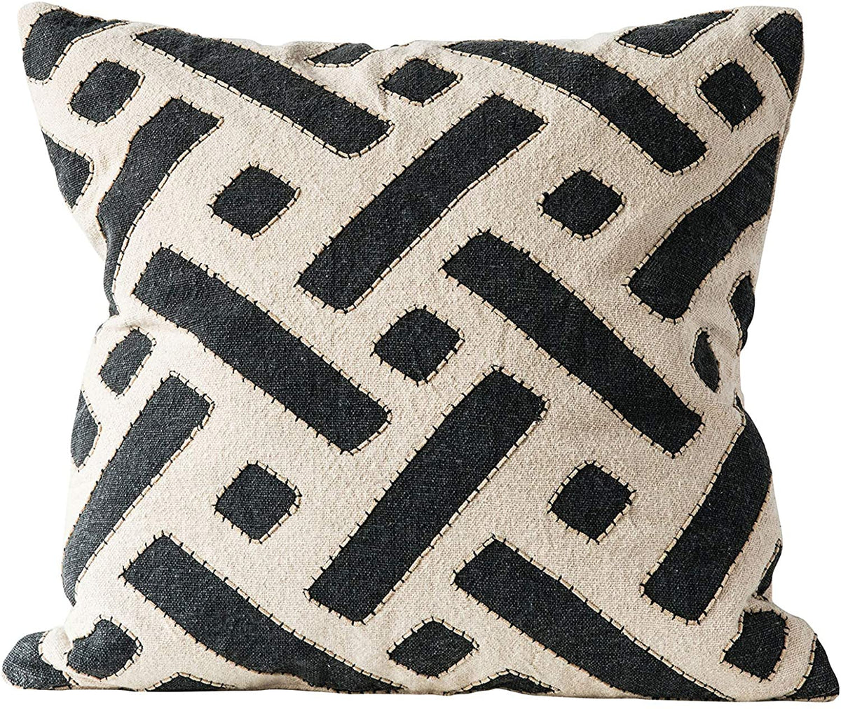 Creative Co-op - Cotton Kuba Pillow with Embroidery, Black & Natural