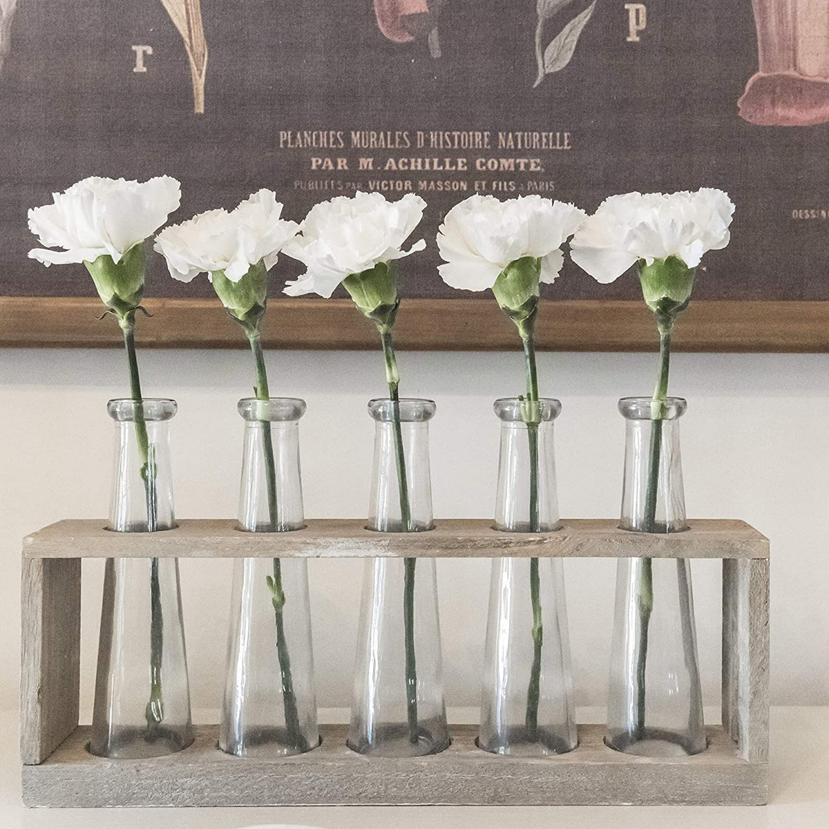 Creative Co-op - Wood Vase Holder with 5 Glass Vases