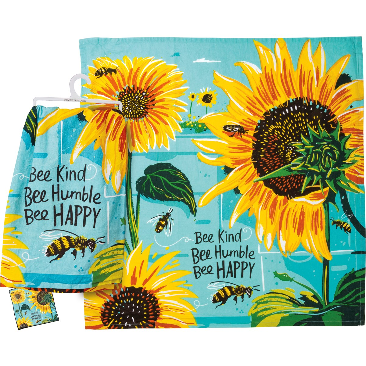 Primitives by Kathy - Bee Kind Bee Humble Bee Happy Dishtowel