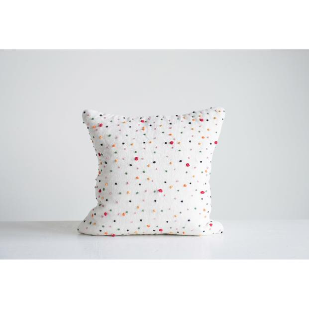 Creative Co-op - Cotton Square Multi-color Decor Pillow with French Knots