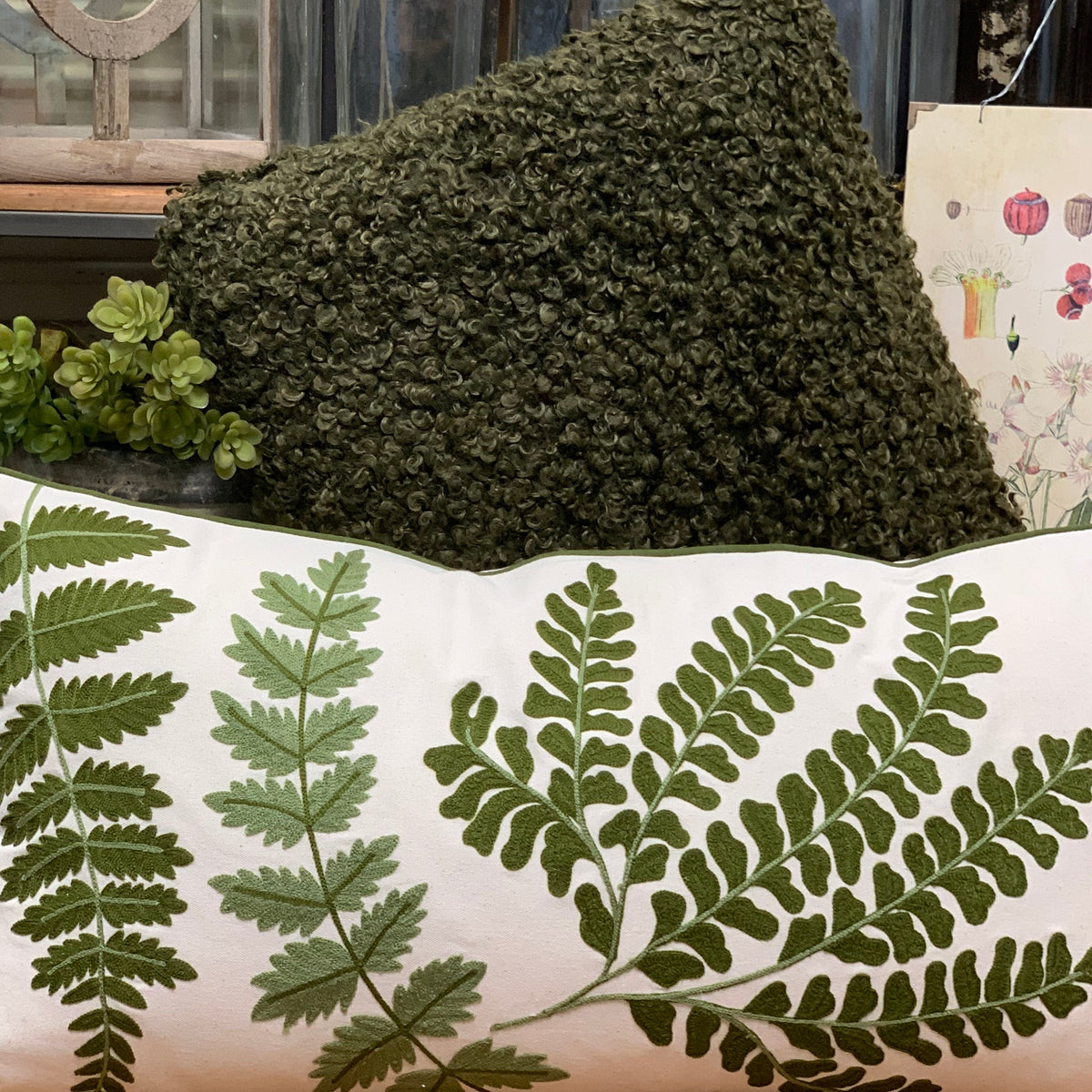 Creative Co-op - Cotton Pillow with Fern Fronds Embroidery