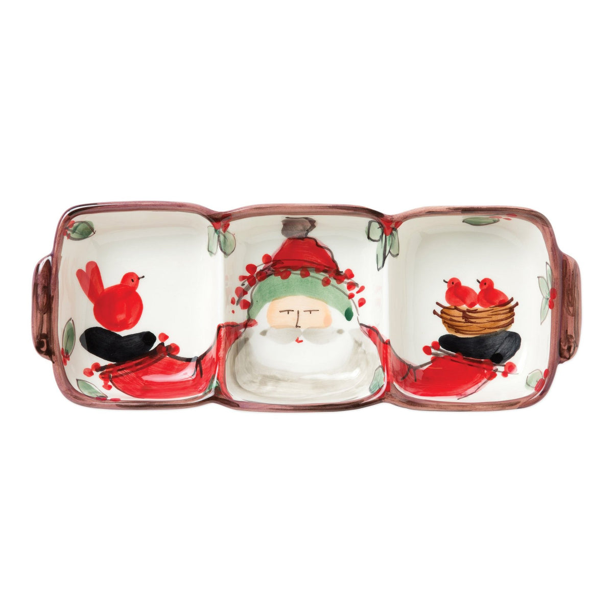 Vietri - Old St. Nick 3-part Divided Serving Dish