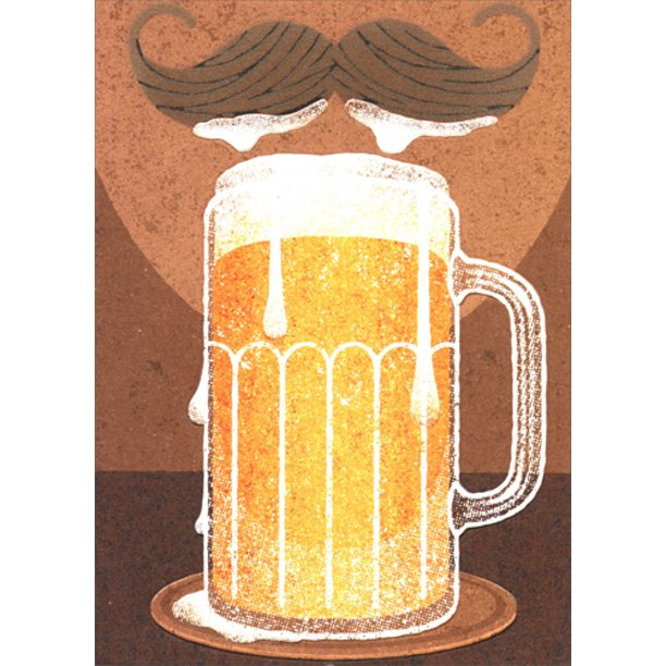 Avanti - Beer Mustache Birthday Card