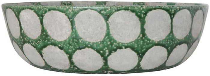 Creative Co-op - Terracotta Bowl, Distressed Green with Dots
