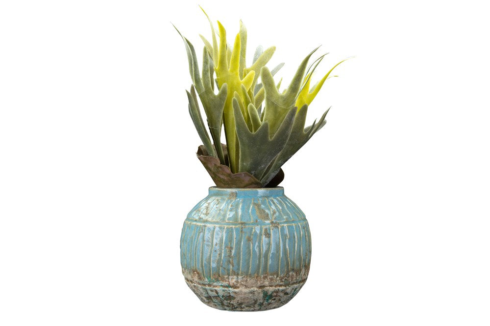 Creative Co-op - Terracotta Planter, Distressed Blue