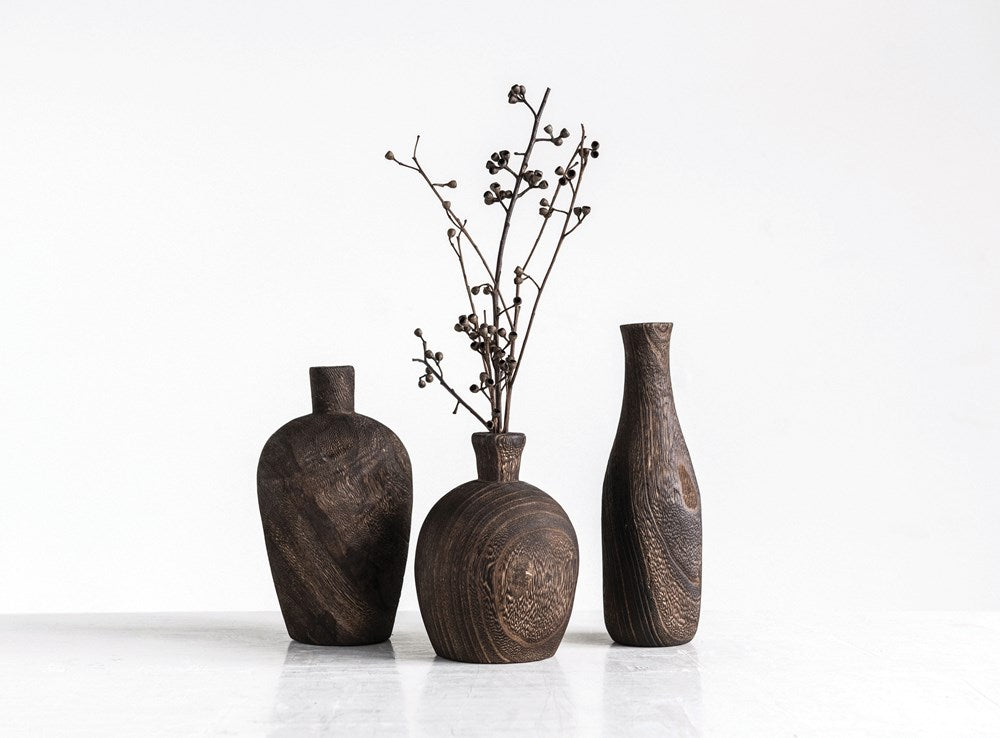 Creative Co-op - Paulownia Wood Vase, 3 Styles