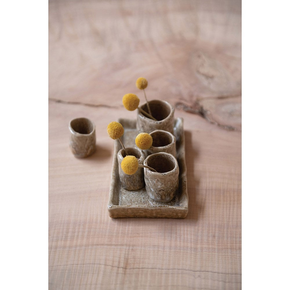 Creative Co-op - Stoneware Tray with Vases