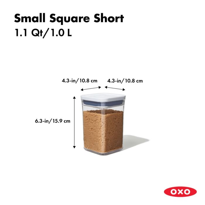OXO - Pop Container, Small Square Short, 1.1 Quart