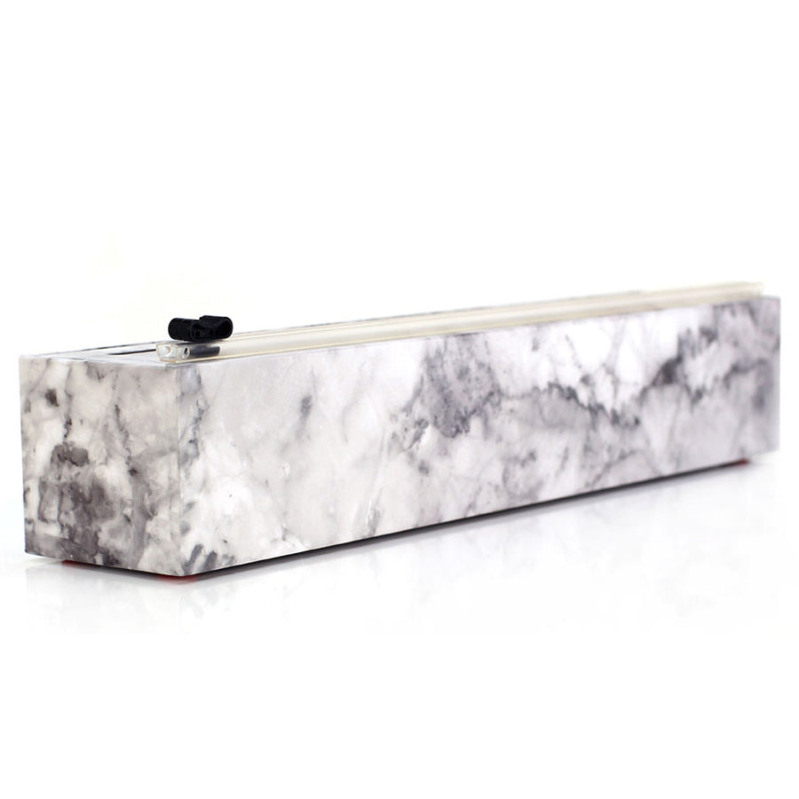 Chic Wrap - Marble Refillable Plastic Wrap Dispenser with Slide Cutter
