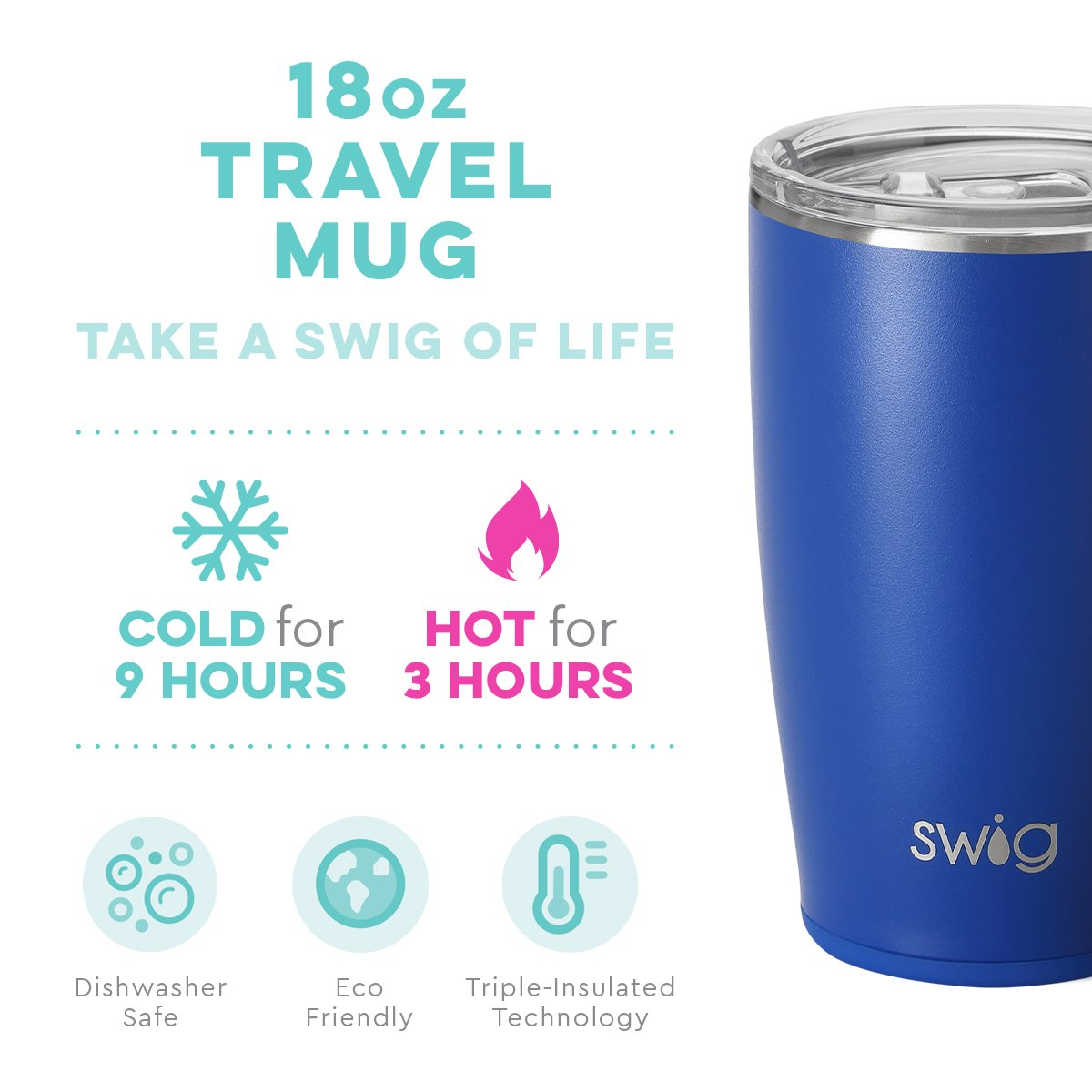 "Swig - Travel Mug ""Matte Royal Blue"" (18 ounce)"