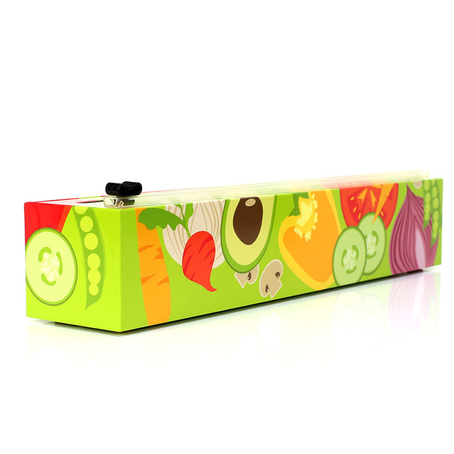 Chic Wrap - Veggies Refillable Plastic Wrap Dispenser with Slide Cutter