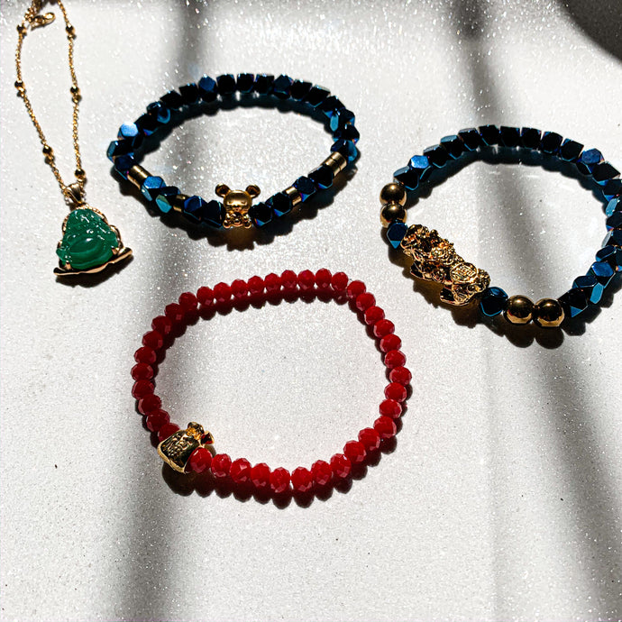 GOOD LUCK Buddha Necklace + PIYAO and RAT Bracelets +😍 FREE MONEY BAG LUCKY BRACELET [Lucky Color BLUE, GREEN and GOLD] 4 in 1 Lucky Charm Set