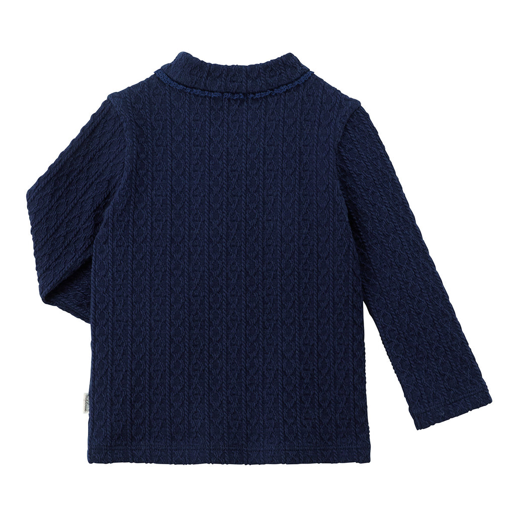NAVY BLUE COTTON T-SHIRT WITH LONG SLEEVES