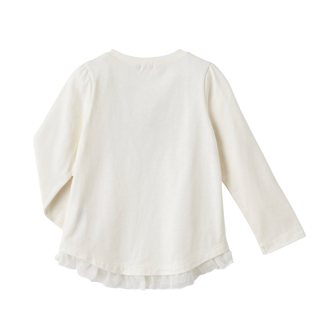 WHITE COTTON LONG SLEEVED T-SHIRT