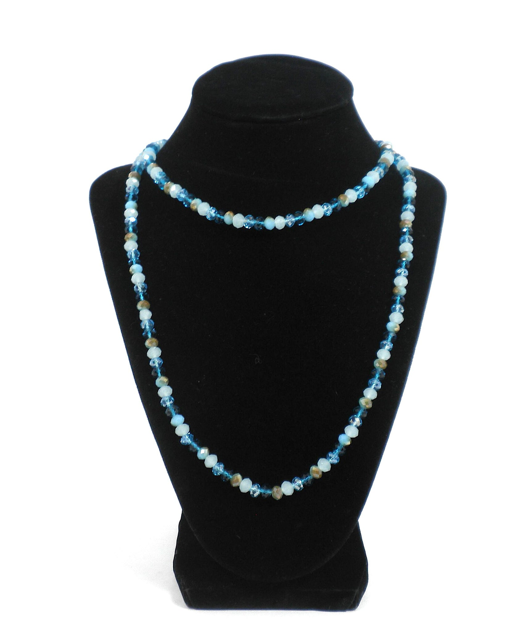 Long Multi-Colored Blue Beaded Necklace - The Fashion Foundation