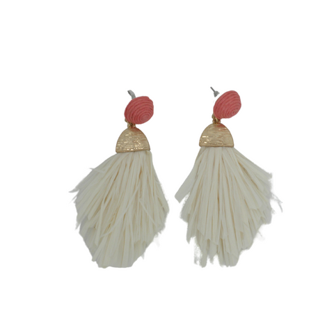 Coral Straw Tassel Earrings - The Fashion Foundation - {{ discount designer}}