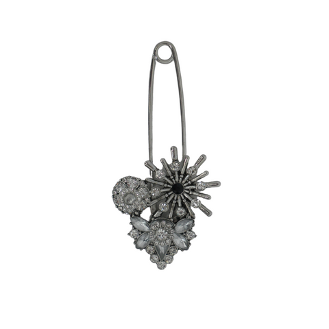 Silver Broche With Rhinestone Detail - The Fashion Foundation - {{ discount designer}}