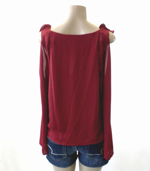 Saks Fifth Avenue Ruffle Burgundy Blouse - Size Extra Small & Small - New With Tags