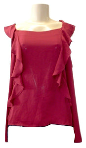 Saks Fifth Avenue Ruffle Burgundy Blouse - Size Extra Small & Small - New With Tags - The Fashion Foundation