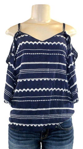 Saks Fifth Avenue Navy Blue And White Open Shoulder Top - Size Small, Medium and Large - New with tags - The Fashion Foundation