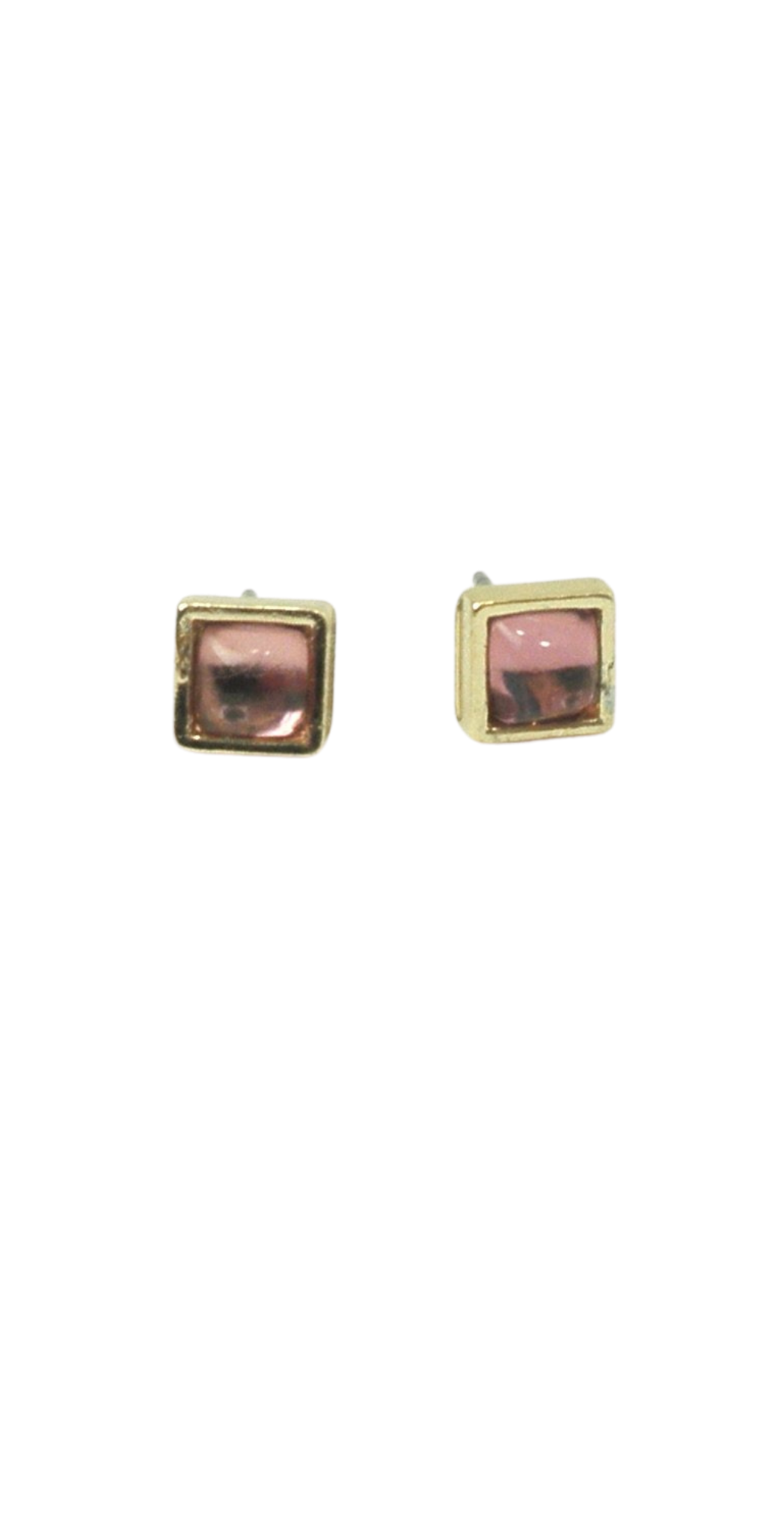 Gold Square Studs with Shiny Pink Design - The Fashion Foundation - {{ discount designer}}