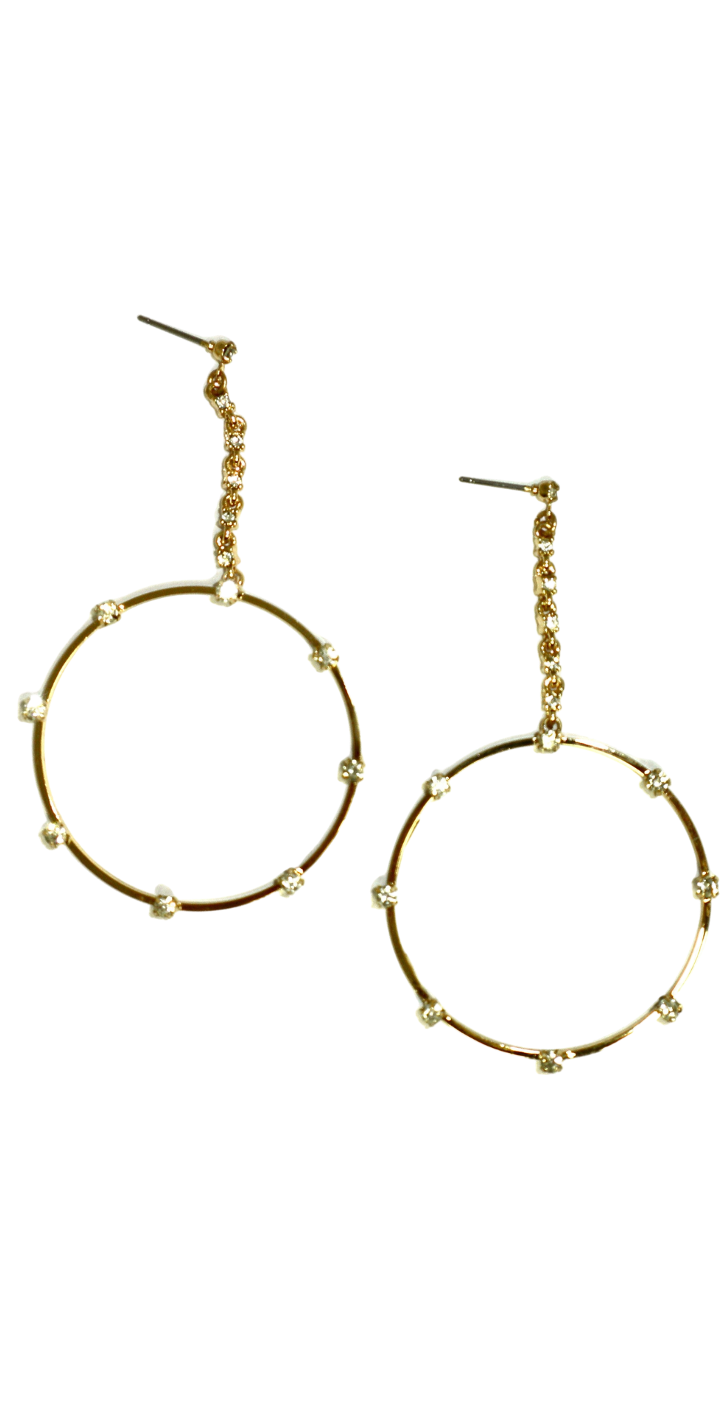 Gold Dangling Hoops with Silver Gemstones - The Fashion Foundation - {{ discount designer}}