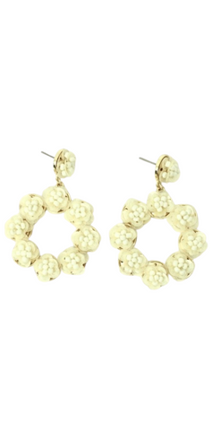 White and Gold Flower Dangle Earrings