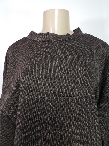 Laura Delman Brown and Black Long Sleeve Shirt - Size 6 - Donated from the Designer