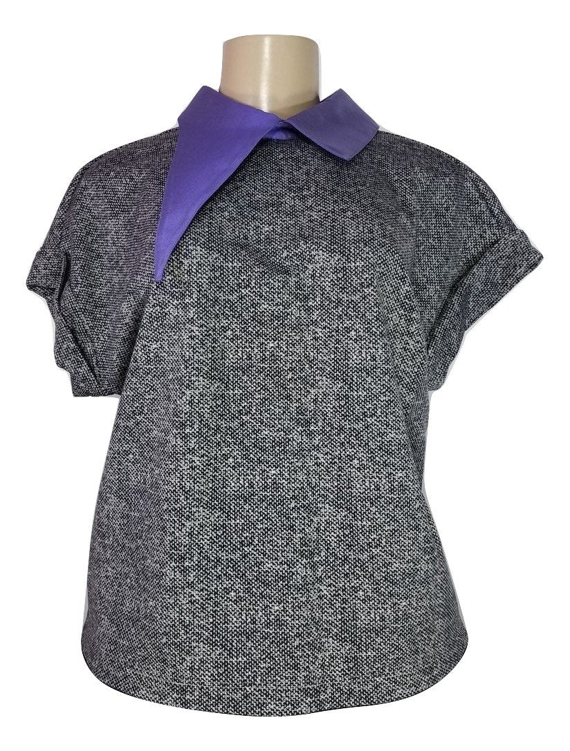 Laura Delman Black and Grey Top with Purple Asymmetrical Collar - Size Small - The Fashion Foundation