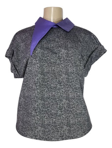 Laura Delman Black and Grey Top with Purple Asymmetrical Collar - Size Small - Donated from the Designer