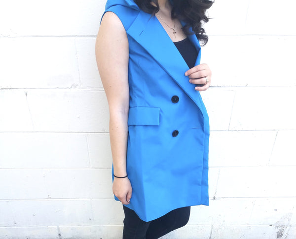 Jungwon Bright Blue Sleeveless Rain Coat With Hood - Small - Donated From The Designer