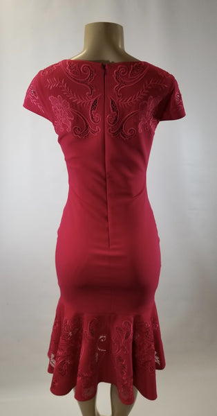 Marchesa Notte Pink Embroidered Floral Dress - Size 2 - Donated From The Designer
