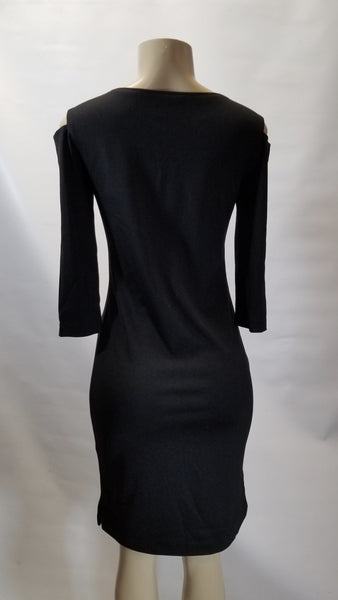 Minan Wong Black Cut Out Shoulder Long Dress - Size 2, 6 - Donated From Designer - The Fashion Foundation