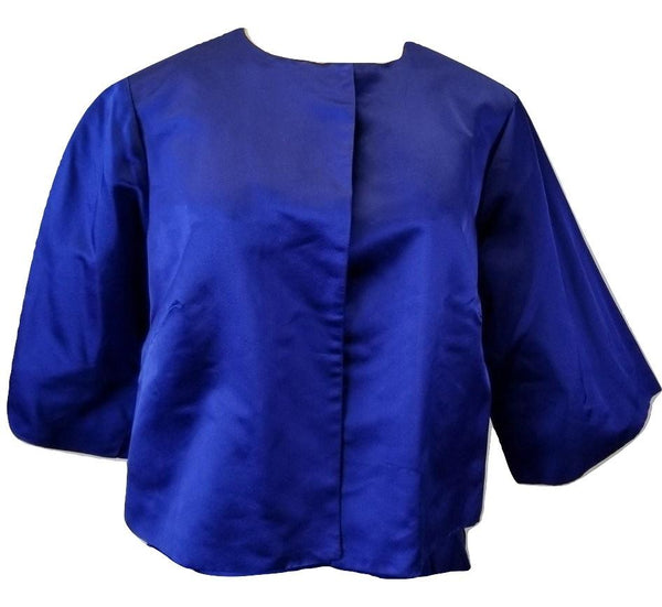 Laura Delman Blue Satin Cropped Jacket - Size 6, 8 - Donated From The Designer - The Fashion Foundation