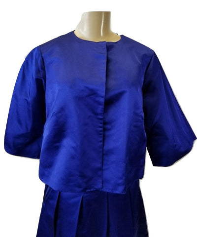 Laura Delman Blue Satin Cropped Jacket - Size 6, 8 - Donated From The Designer