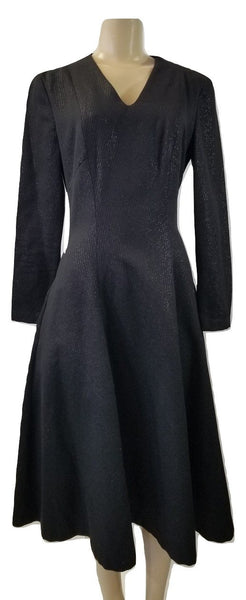 Laura Delman Black Long Sleeve Dress With Metallic Stripes - Size 4 - Donated From The Designer - The Fashion Foundation