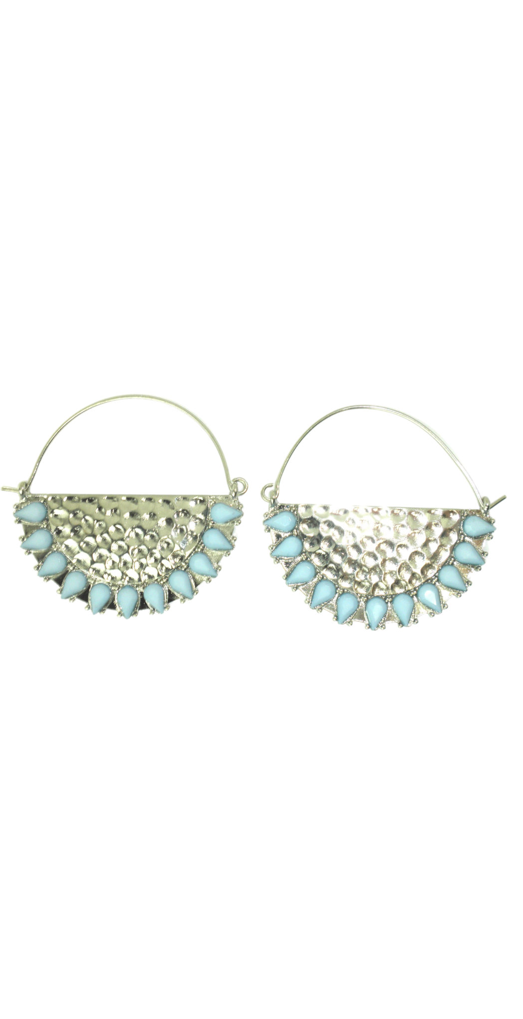 Silver and Light Blue Hoop Earrings with Silver Semi Circle - The Fashion Foundation - {{ discount designer}}