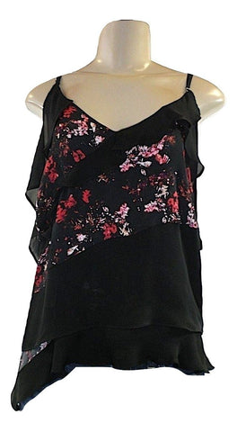 Parker Black And Floral Open Shoulder Sleeve Ruffled Blouse - Size Small - New - The Fashion Foundation