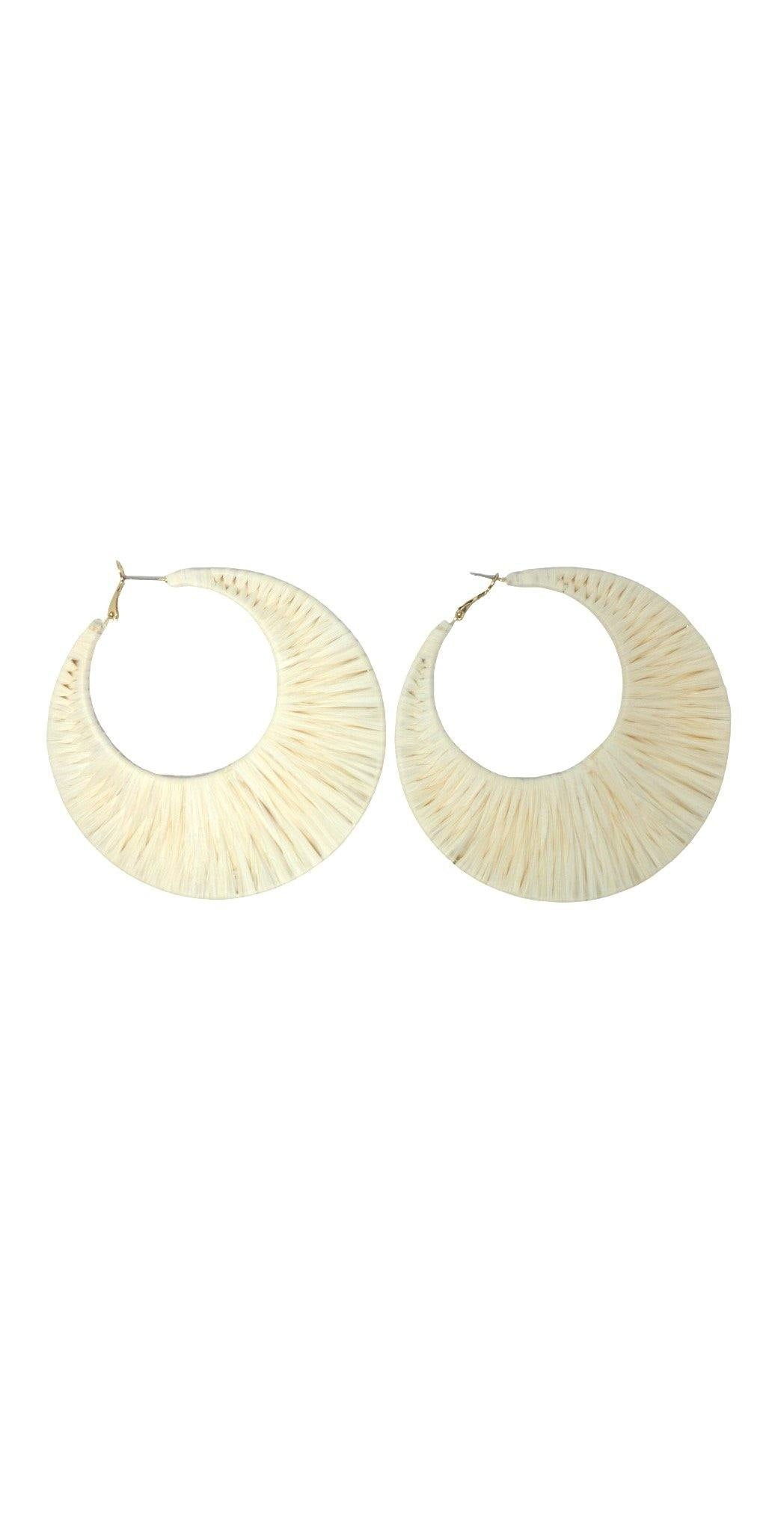 Large Ivory Circle Earrings