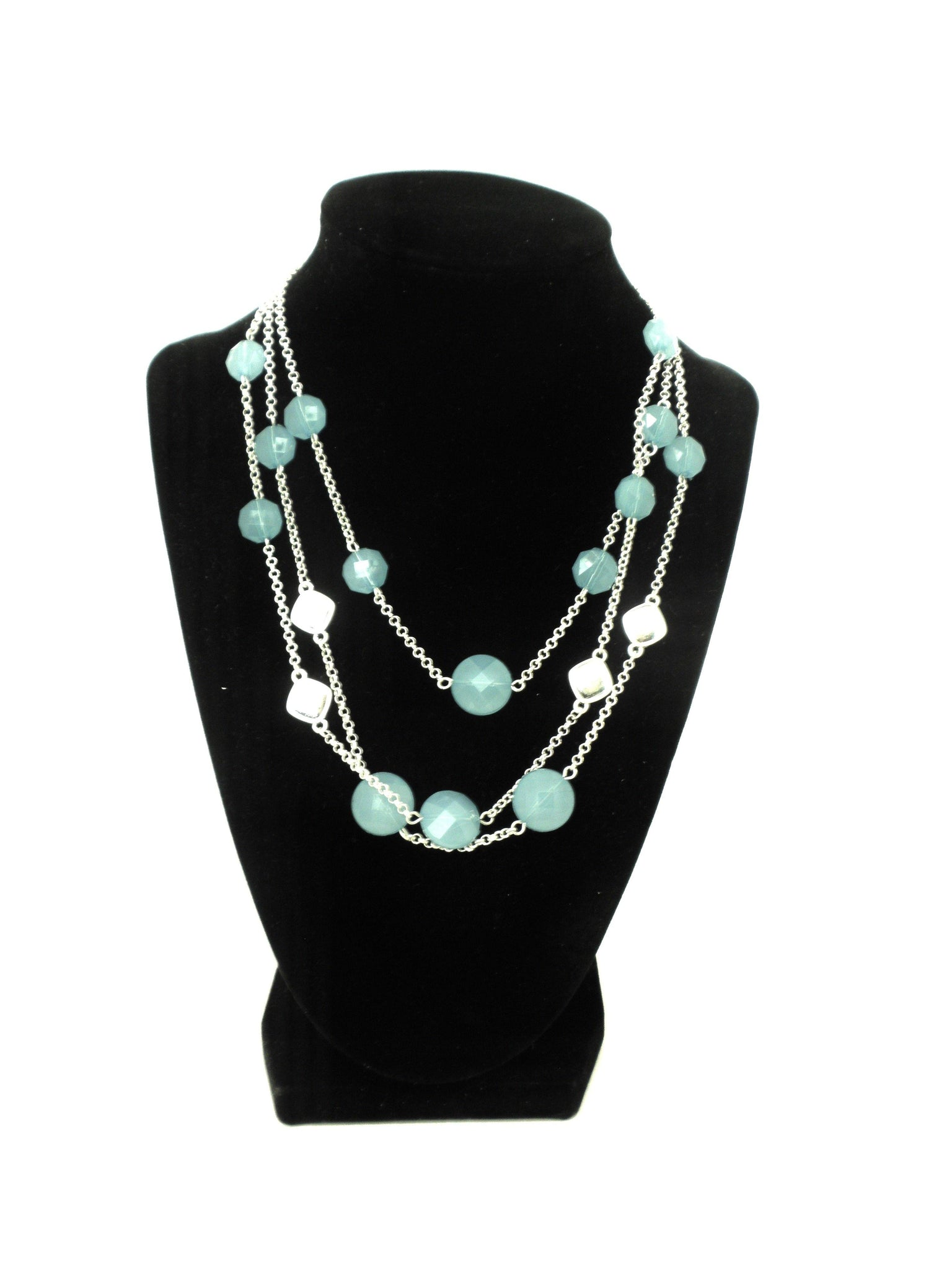 Necklace with Light Blue and Silver Gems