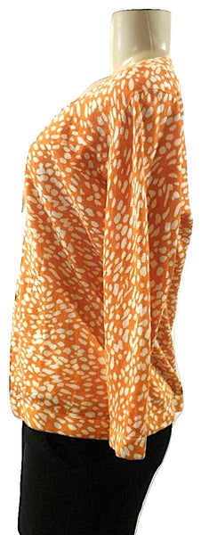 Lafayette 148 Orange and White Patterned Cardigan- Size Medium - Donated From The Designer - The Fashion Foundation