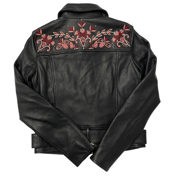 Rebecca Minkoff Floral Embroidered Leather Jacket - Size XXS, XS