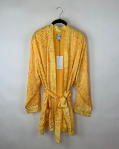 Yellow Floral Robe- Size Small