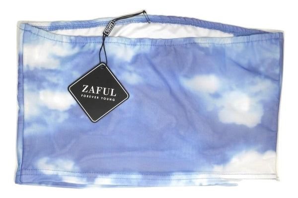 Zaful Blue & White Mesh Tube Top - Size Medium - Donated From Designer - The Fashion Foundation