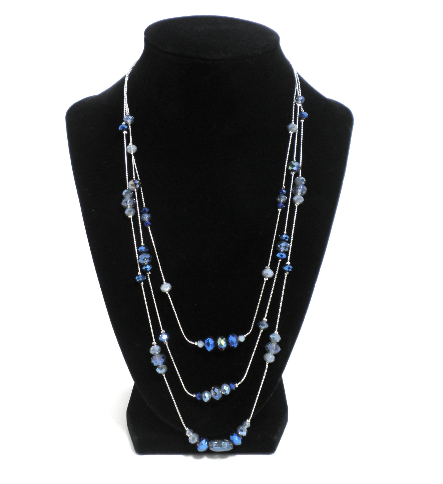 Blue Beaded Layered Silver Necklace - The Fashion Foundation